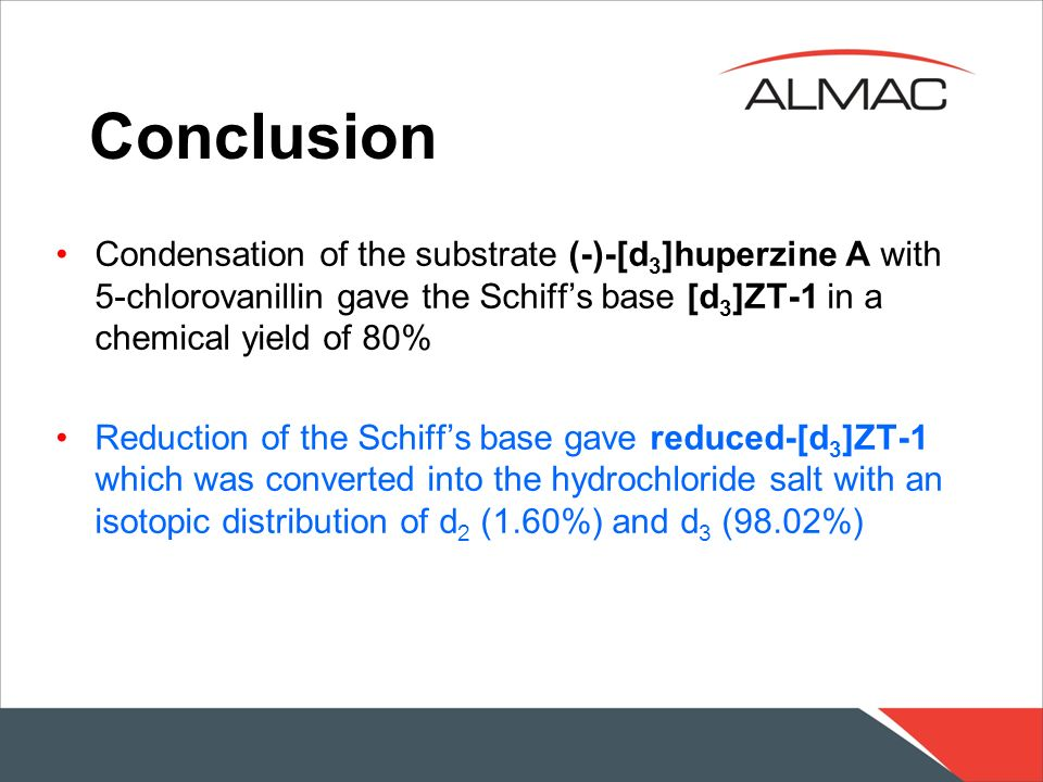 Conclusion Condensation of the substrate (-)-[d3]huperzine A with 5-chlorovanillin gave the Schiff's base [d3]ZT-1 in a chemical yield of 80%